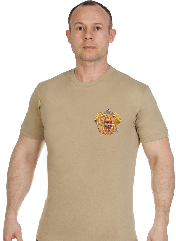 Купить удобную песочную футболку Россия оптом или в розницу