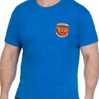 Удобная синяя футболка Россия