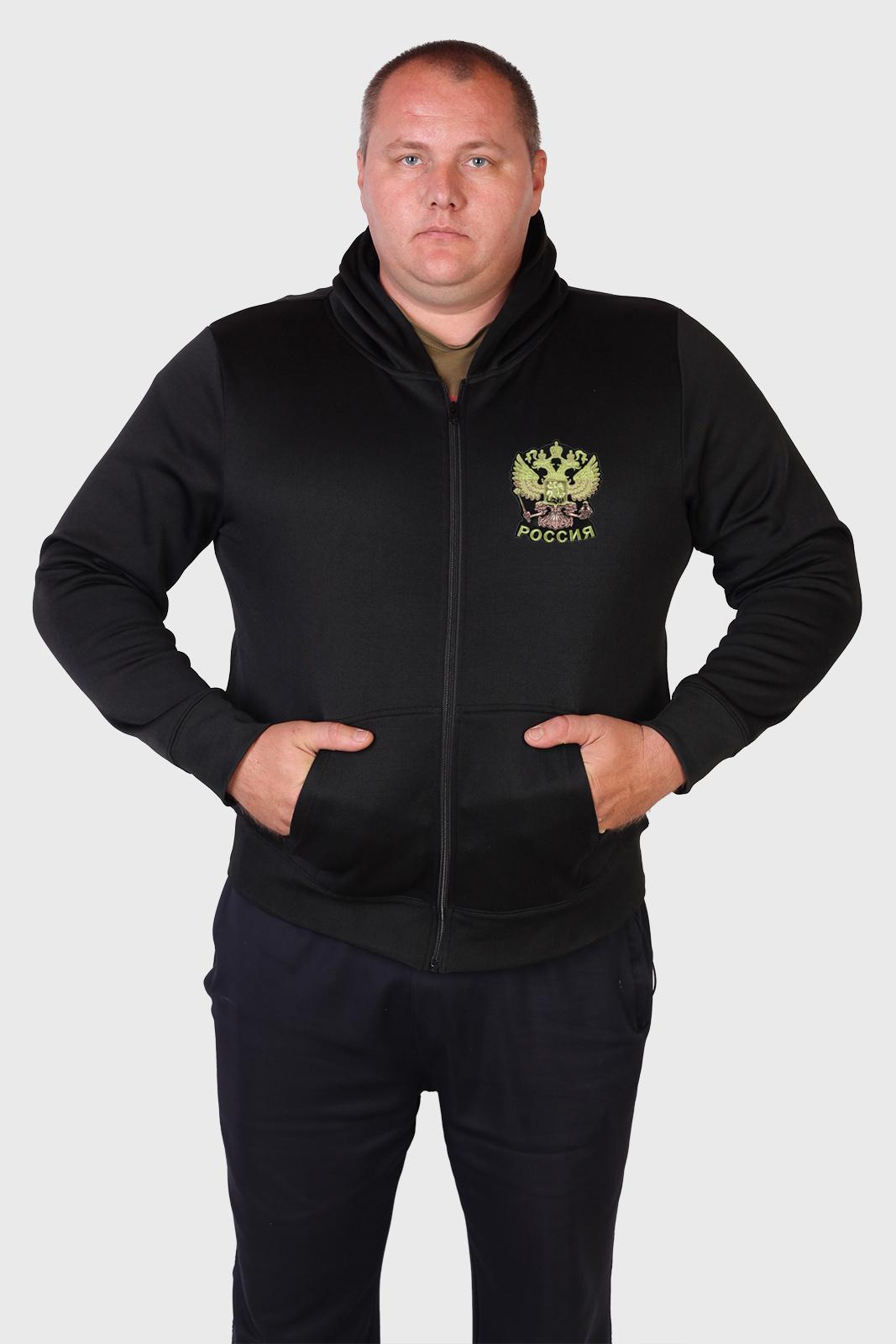 Черная мужская толстовка с гербом России