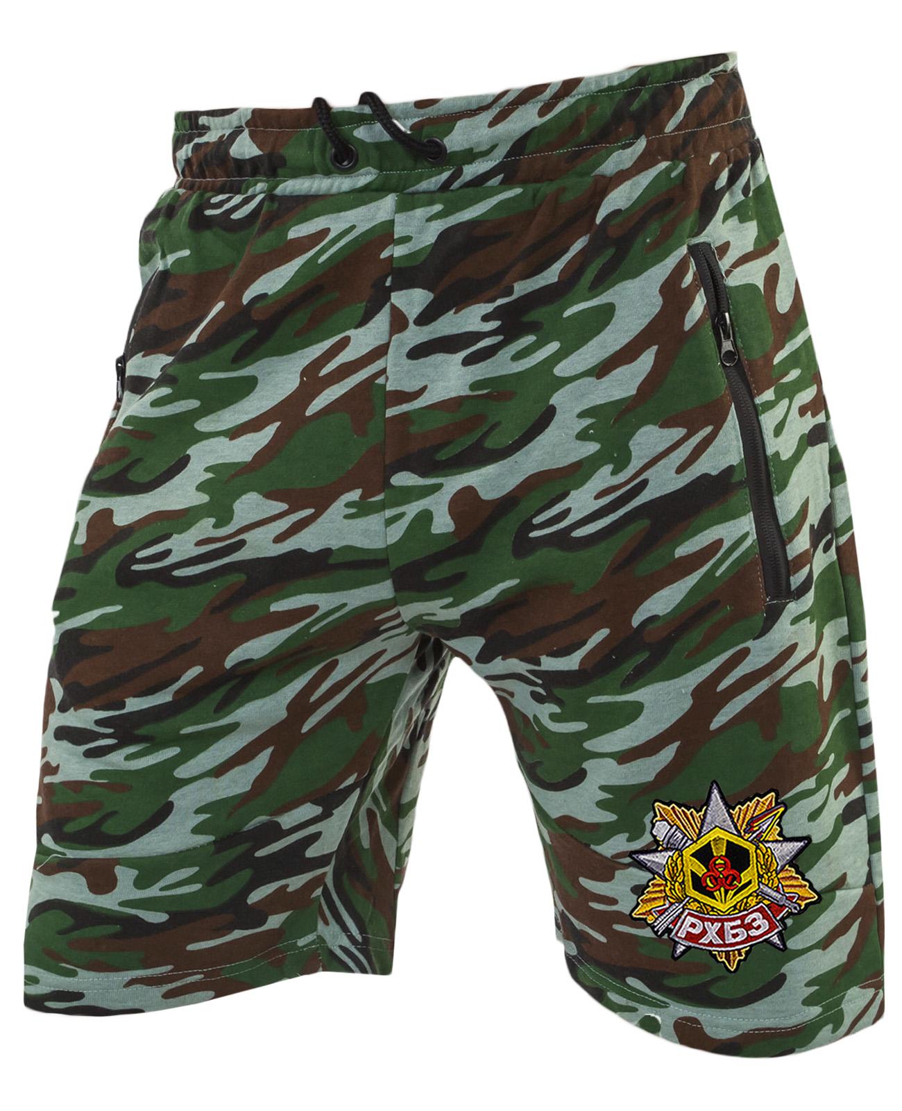 Удобные удлиненные шорты с карманами и нашивкой РХБЗ