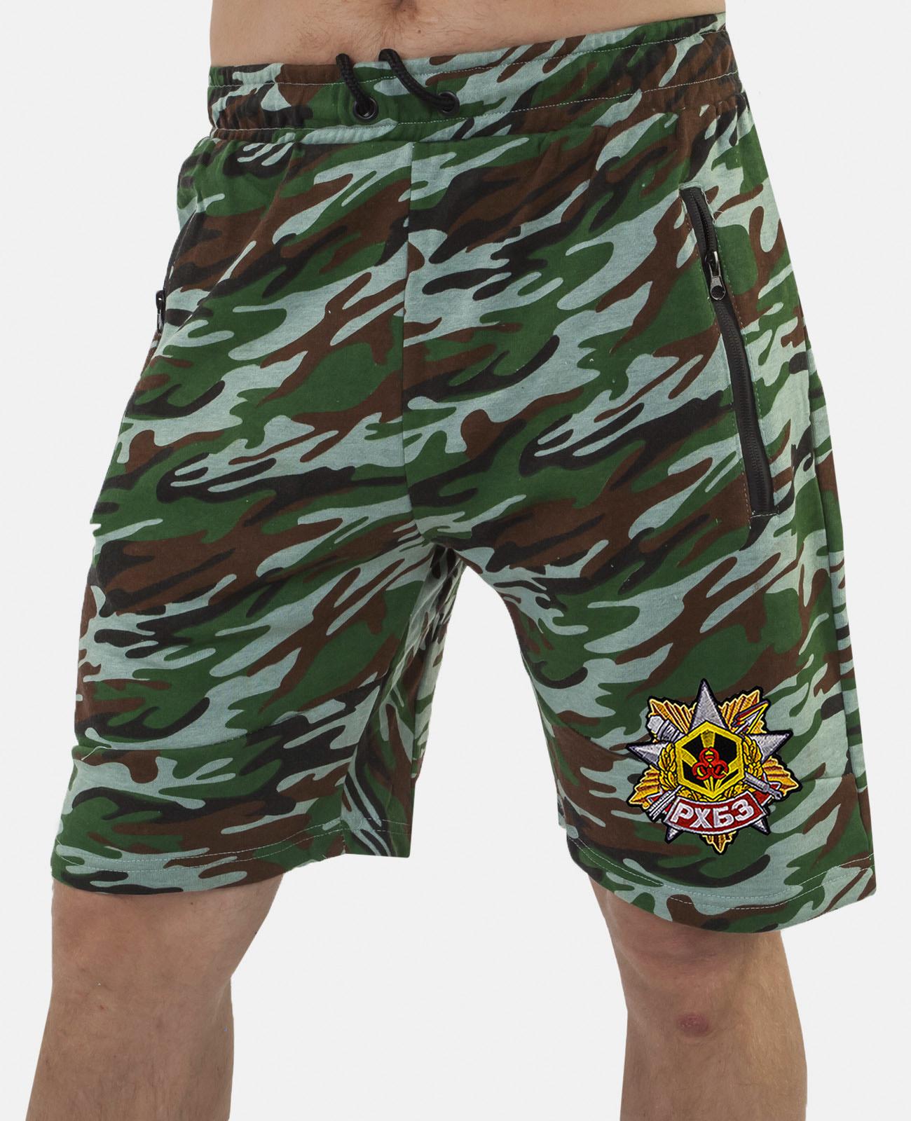 Купить удобные удлиненные шорты с карманами и нашивкой РХБЗ в подарок мужчине