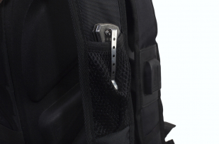 Удобный черный рюкзак с нашивкой Бога Велеса купить выгодно