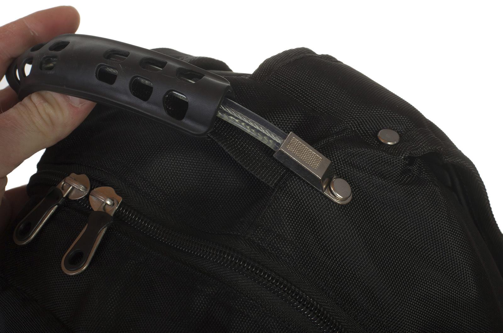 Удобный черный рюкзак с патриотичной нашивкой купить оптом