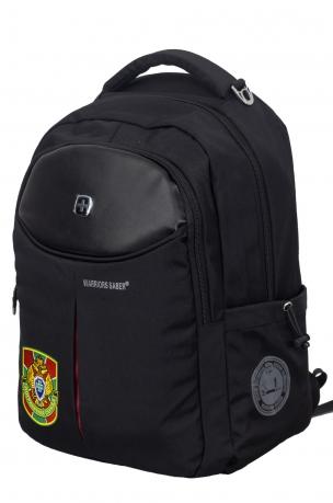 Удобный черный рюкзак с военной нашивкой Погранслужбы - купить онлайн
