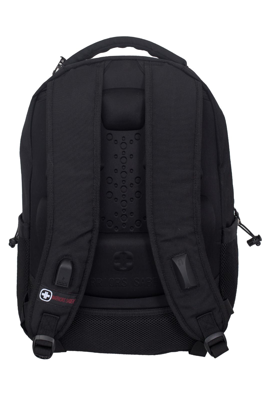 Купить удобный черный рюкзак с военной нашивкой Погранслужбы в подарок