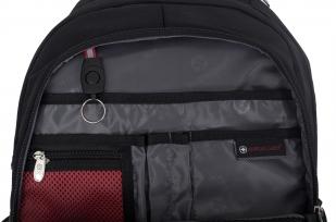 Удобный черный рюкзак с военной нашивкой Погранслужбы - купить оптом