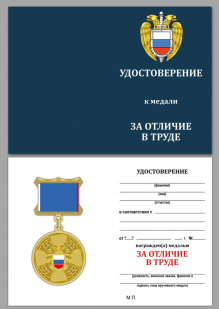 Медаль ФСО РФ За отличие в труде в бархатном футляре - Удостоверение