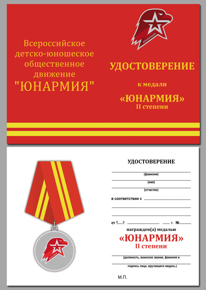 Удостоверение к медали Юнармии 2 степени