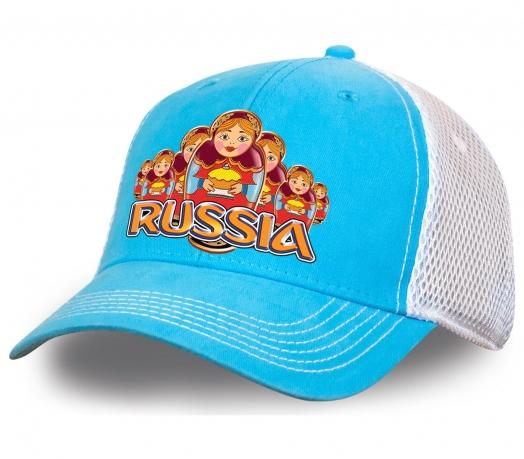 """Уникальная бейсболка """"Russia матрешки"""" нежного бело-голубого цвета. Яркая, модная и комфортная модель для ценителей. Количество ограничено, успей заказать!"""