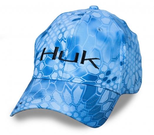Голубая унисекс бейсболка HUK в эффектном дизайне Kryptek