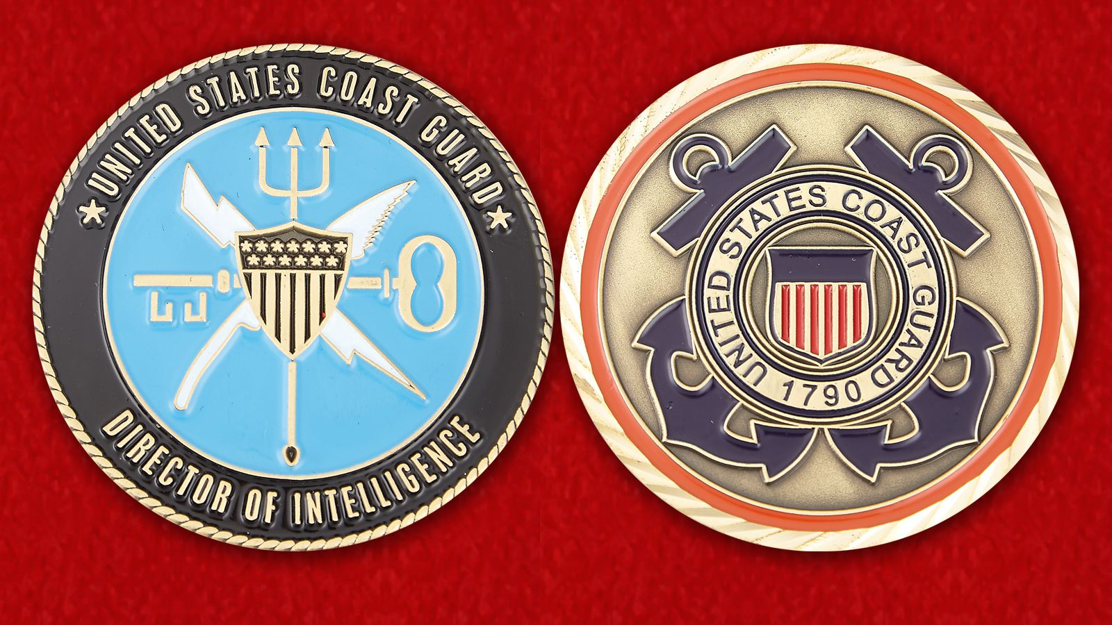 United States Coast Guard Director of Intelligence Challenge Coin - obverse and reverse