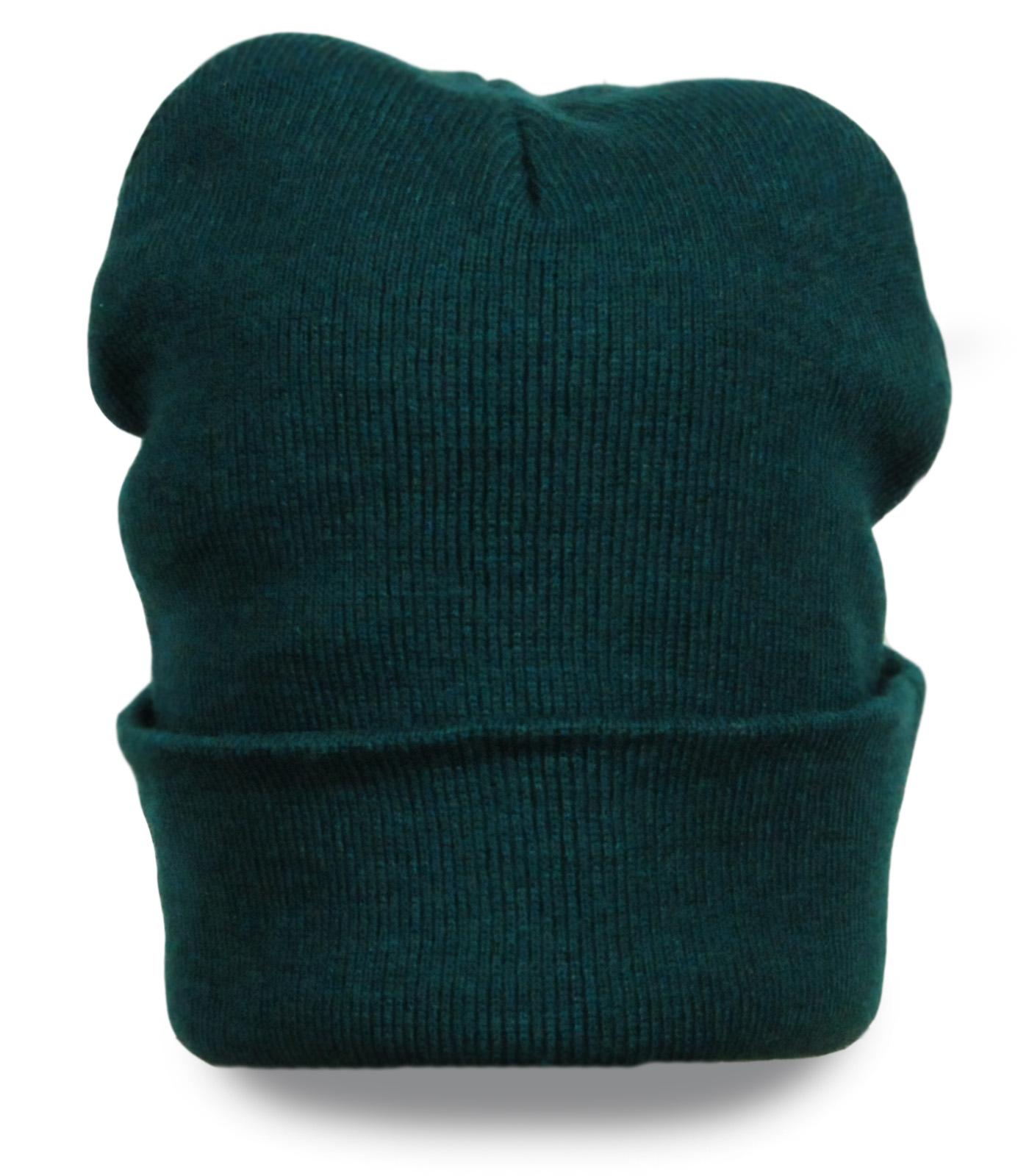 Спортивная вязаная мужская шапка с отворотом