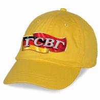 Универсальная желтая бейсболка с термотрансфером ГСВГ купить по выгодной цене