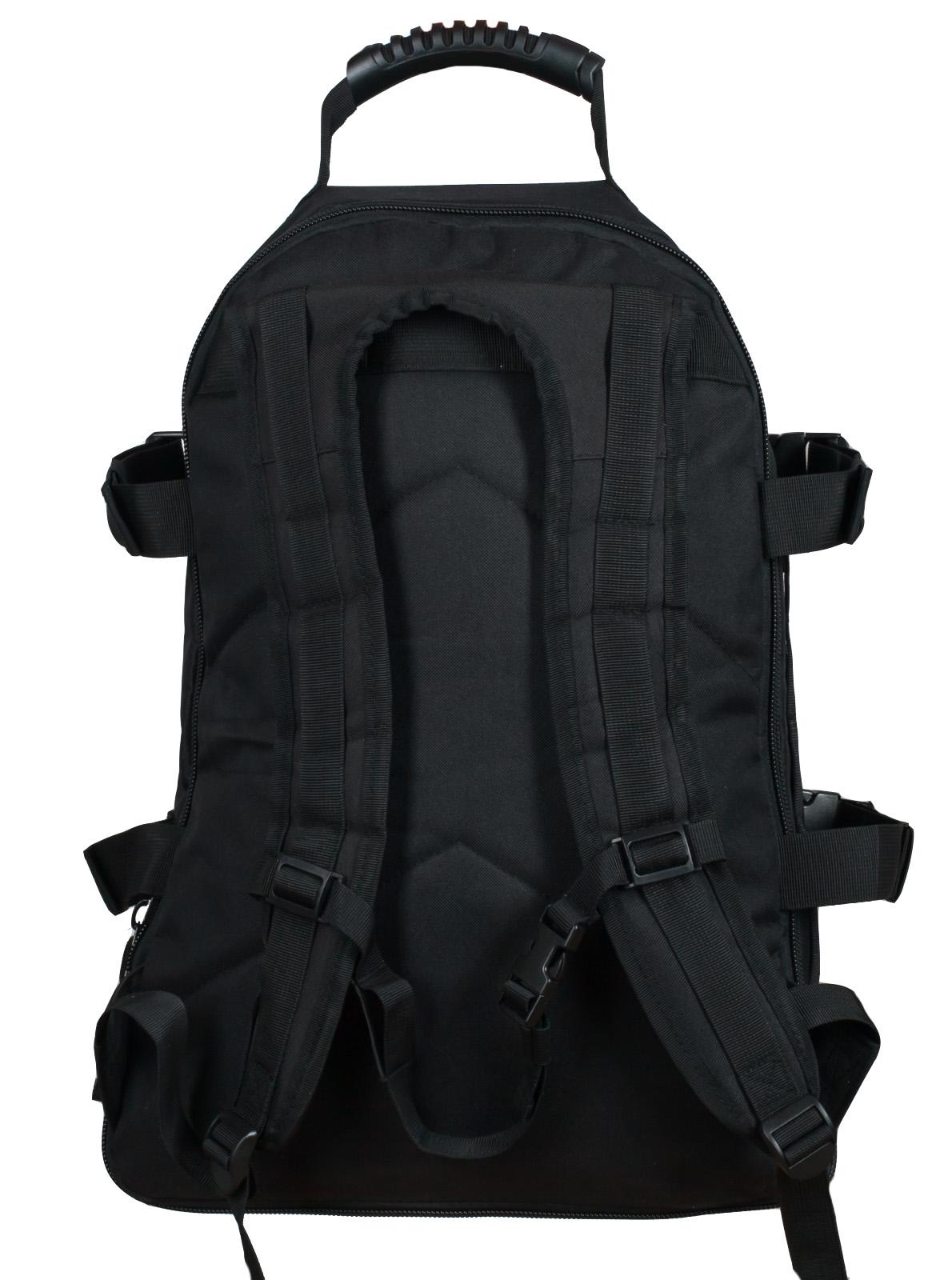 Универсальный черный рюкзак с эмблемой Охотничьего спецназа купить в розницу или оптом