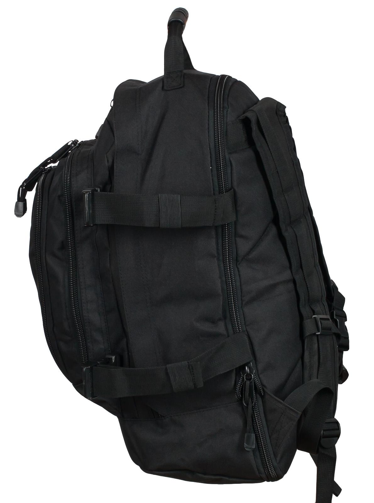 Заказать универсальный черный рюкзак с эмблемой Охотничьего спецназа