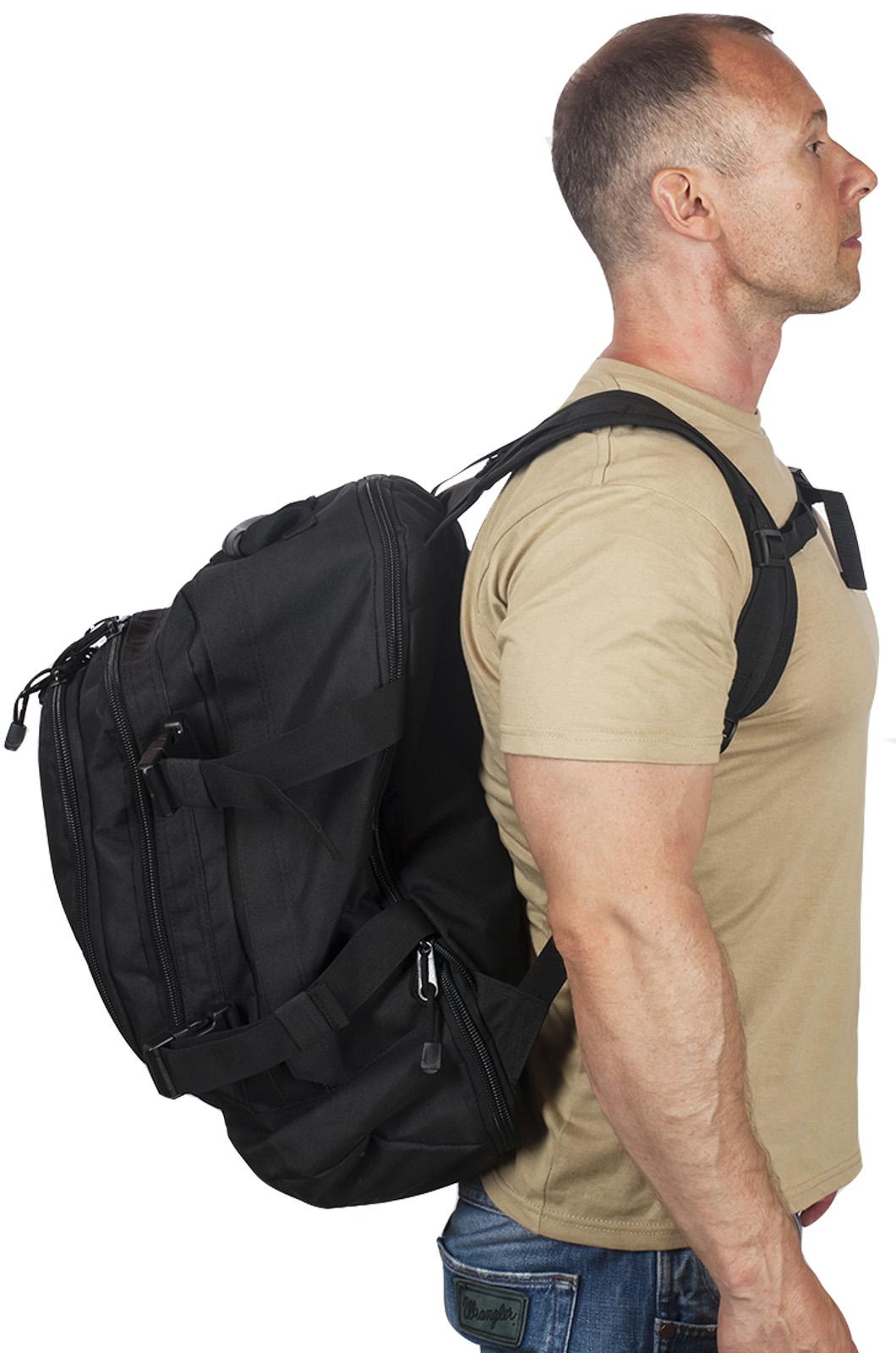 Универсальный черный рюкзак с эмблемой Охотничьего спецназа купить с доставкой