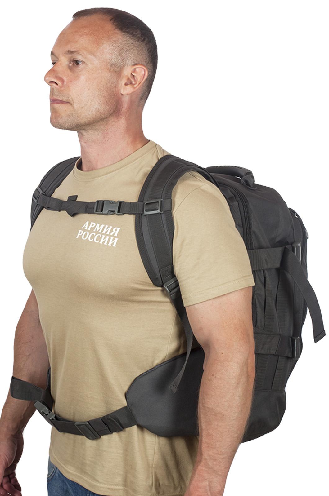 Универсальный черный рюкзак с нашивкой Погранслужбы - заказать выгодно