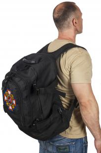Универсальный черный рюкзак с нашивкой Потомственный Казак - заказать с доставкой