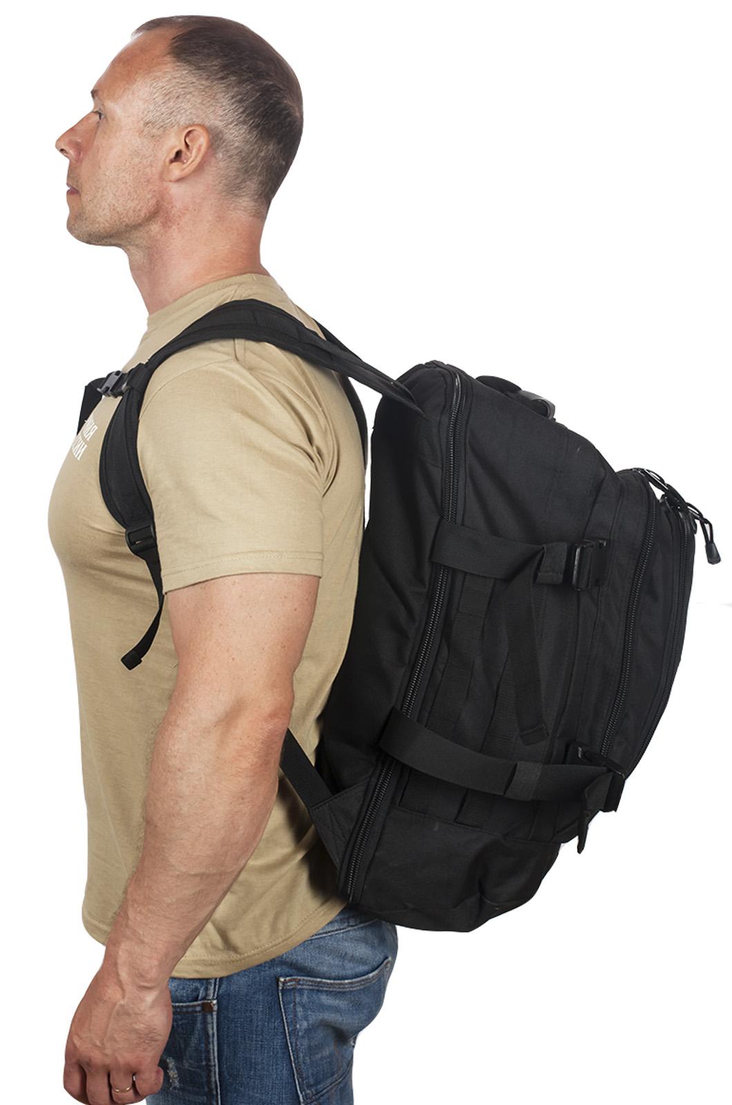 Универсальный черный рюкзак с нашивкой Потомственный Казак - купить в подарок