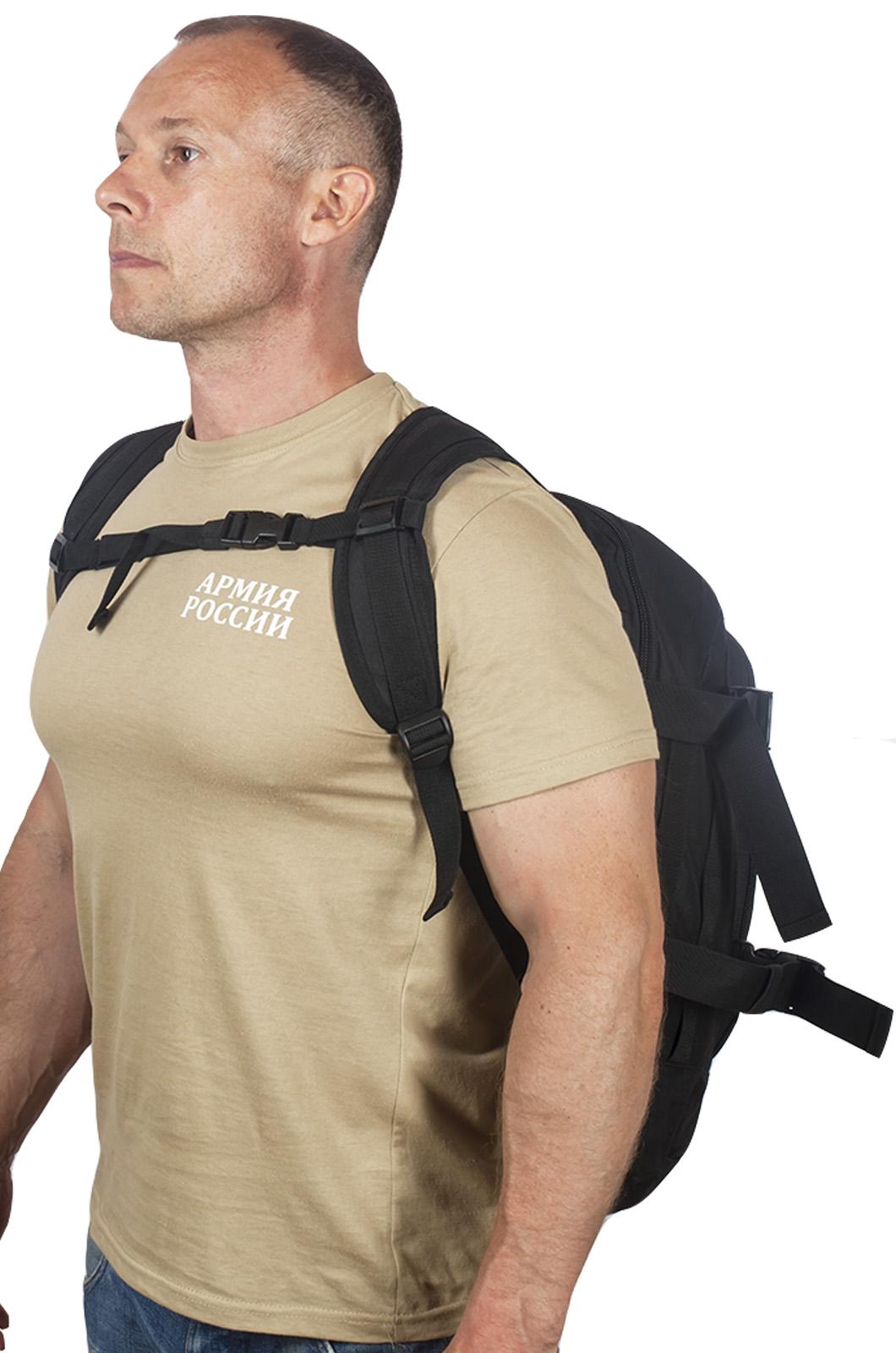 Универсальный черный рюкзак с нашивкой Потомственный Казак - заказать в подарок