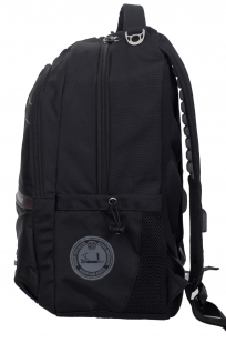 Универсальный черный рюкзак с военной нашивкой - купить в розницу