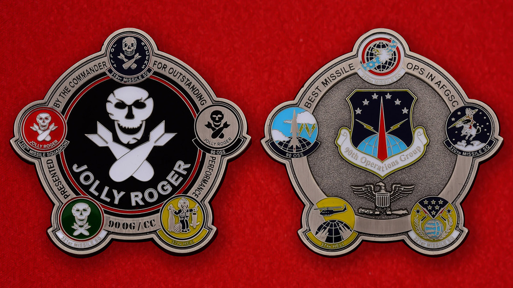 US 90th Missile Operations Group Jolly Roger Challenge Coin - both sides