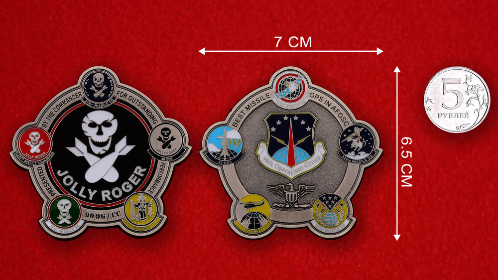 US 90th Missile Operations Group Jolly Roger Challenge Coin - linear size