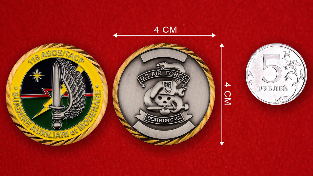 US Air Force 116th ASOS/TACP Challenge Coin - linear size