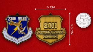 US Air Force 23rd Wing Challenge Coin - linear size