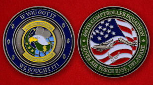 US Air Force 436th Comptroller Squadron Dover AFB Challenge Coin - both sides