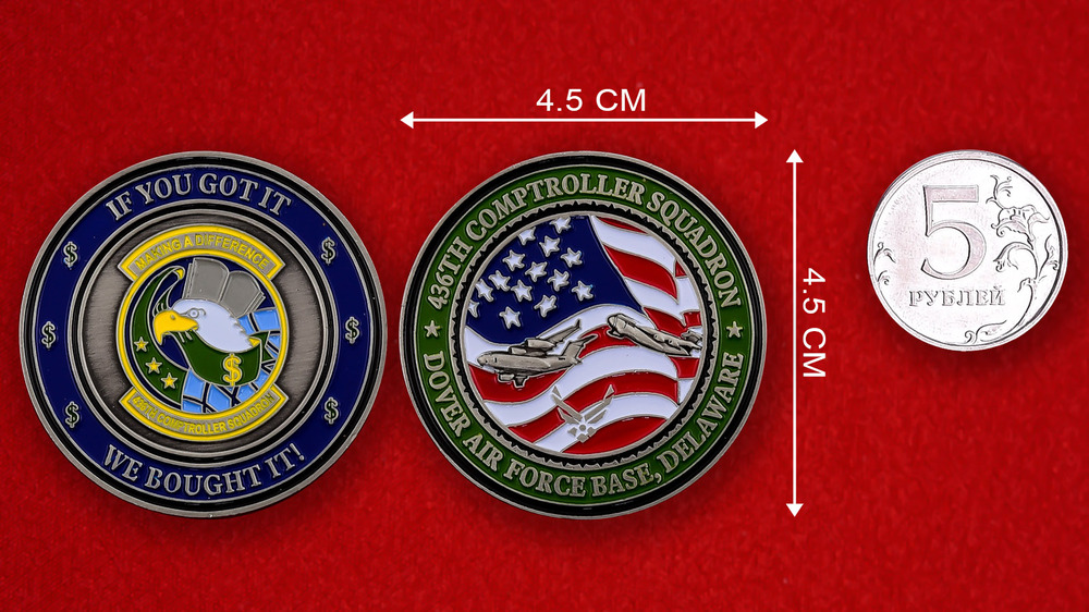 US Air Force 436th Comptroller Squadron Dover AFB Challenge Coin - linear size