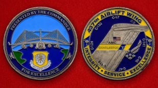 US Air Force 437th Airlift Wing Challenge Coin - both sides