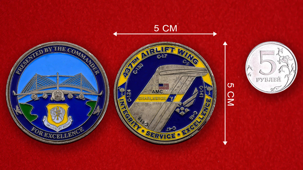 US Air Force 437th Airlift Wing Challenge Coin - linear size