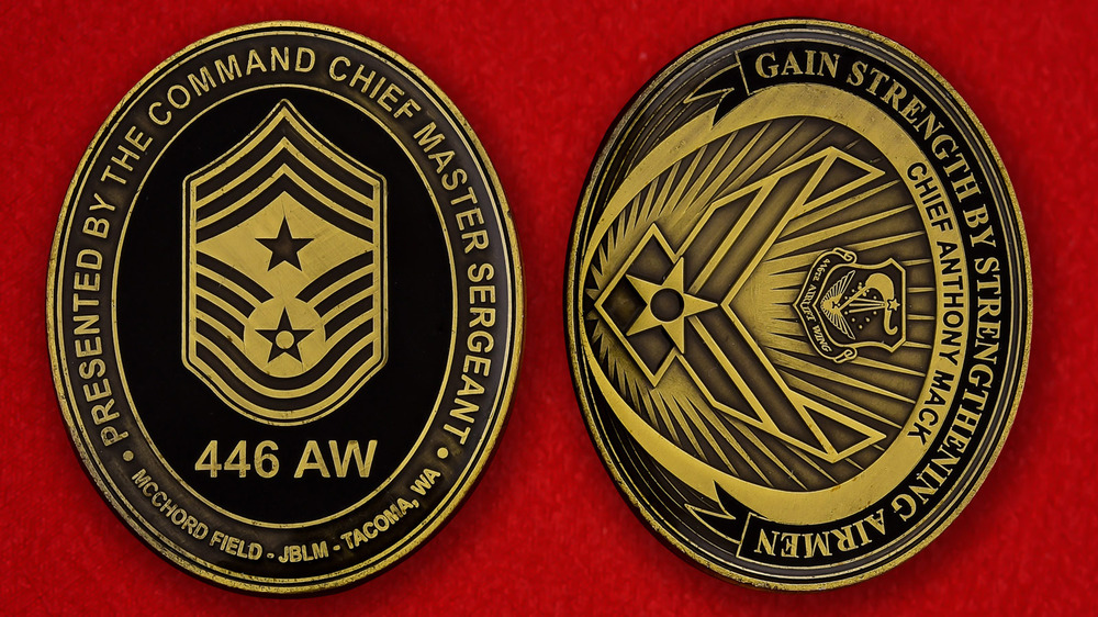 US Air Force 446th Air Wing JB Lewis-McChord Challenge Coin - both sides
