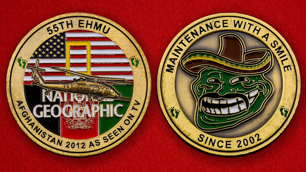 US Air Force 55th EMHU Afghanistan 2012 Challenge Coin - both sides