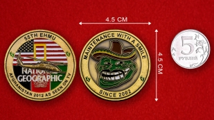 US Air Force 55th EMHU Afghanistan 2012 Challenge Coin - linear size