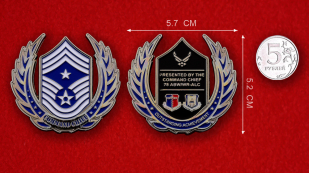 US Air Force 78th ABW Command Chief Challenge Coin - linear size