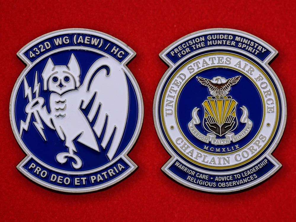 US Air Force Chaplain Corps 423rd Wing Challenge Coin - both sides