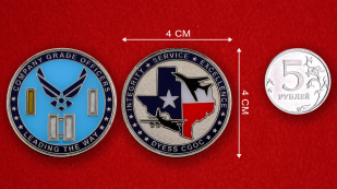 US Air Force Company Grade Officers Dyess CGOC Challenge Coin - linear size