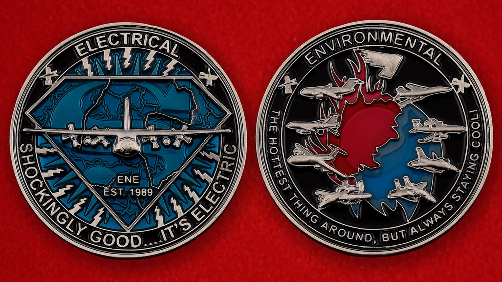 US Air Force Electrical Enviromental Unit Challenge Coin - both sides