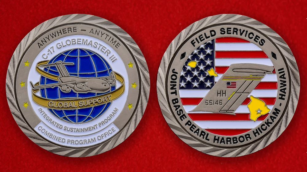 US Air Force Global Support C-17 Globemaster III JB Pearl Harbor Challenge Coin - both sides