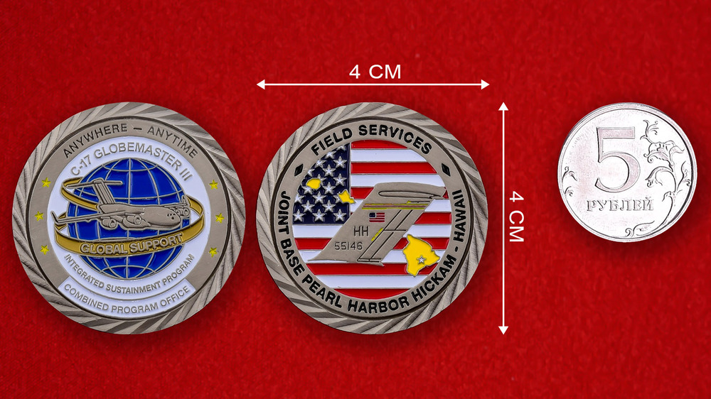 US Air Force Global Support C-17 Globemaster III JB Pearl Harbor Challenge Coin - linear size