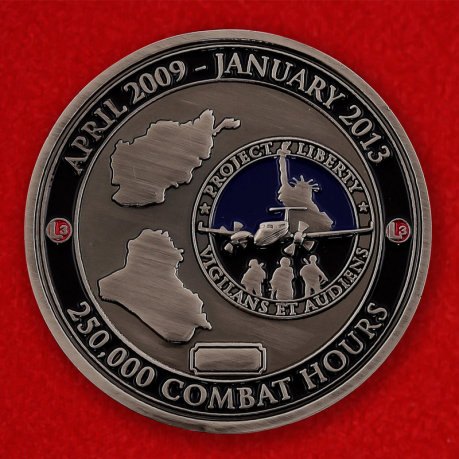 US Air Force ISR L-3 Mission 250000 Combat Hours Challenge Coin - obverse