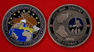US Air Force ISR L-3 Mission 250000 Combat Hours Challenge Coin - both sides