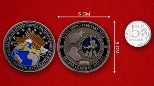 US Air Force ISR L-3 Mission 250000 Combat Hours Challenge Coin - linear size