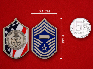 US Air Force Surgeon By Chief Master-Sergeant Nunes Challenge Coin - linear size