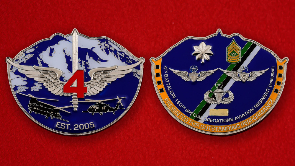 US Airborne 4th Battalion 160th Special Operations Aviation Regiment Challenge Coin - both sides