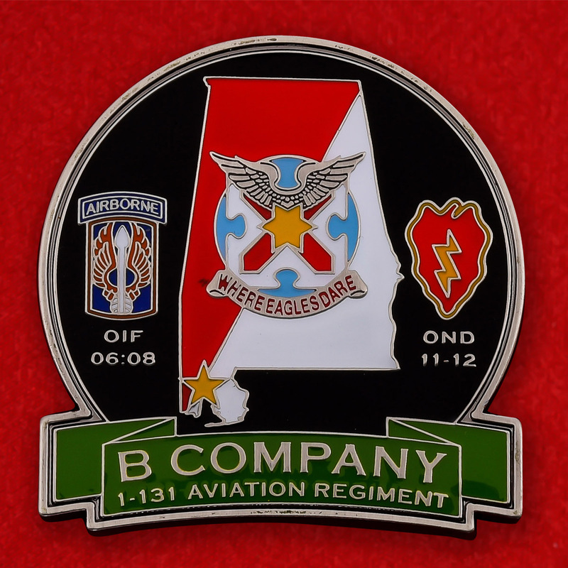 US Airborne Bravo Company 1st Battalion 131st Aviation Regiment Challenge Coin - obverse