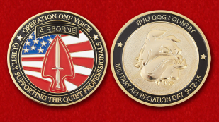 US Airborne Operation One Voice Nonprofit Organization Challenge Coin - both sides