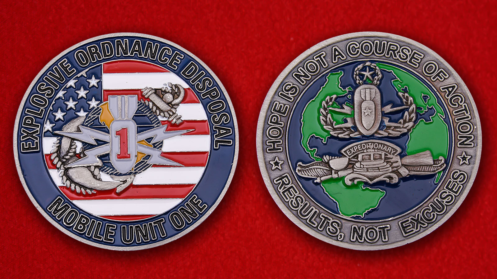 US Expeditionary Forces Explosive Ordnance Disposal Mobile Unit One Challenge Coin